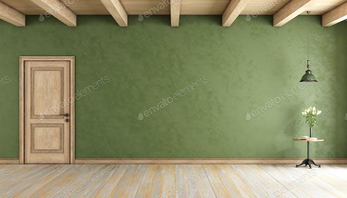 Classic green room with door