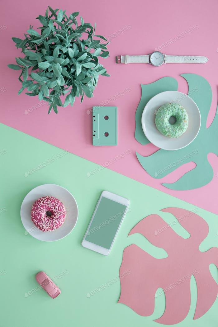 Ilustración estética verde y rosa