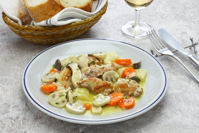 creamy chicken and mushroom fricassee, french home cooking