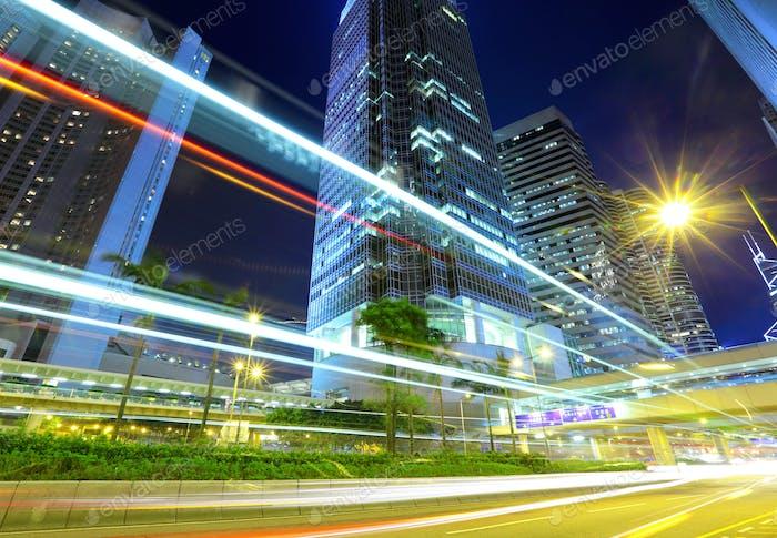 Hong Kong with car light