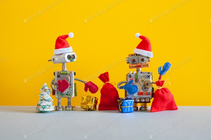 New Year Christmas party robotic greeting card.
