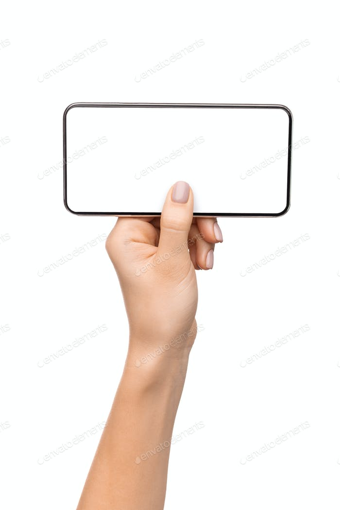 Smartphone with blank screen in horizontal orientation in female hand