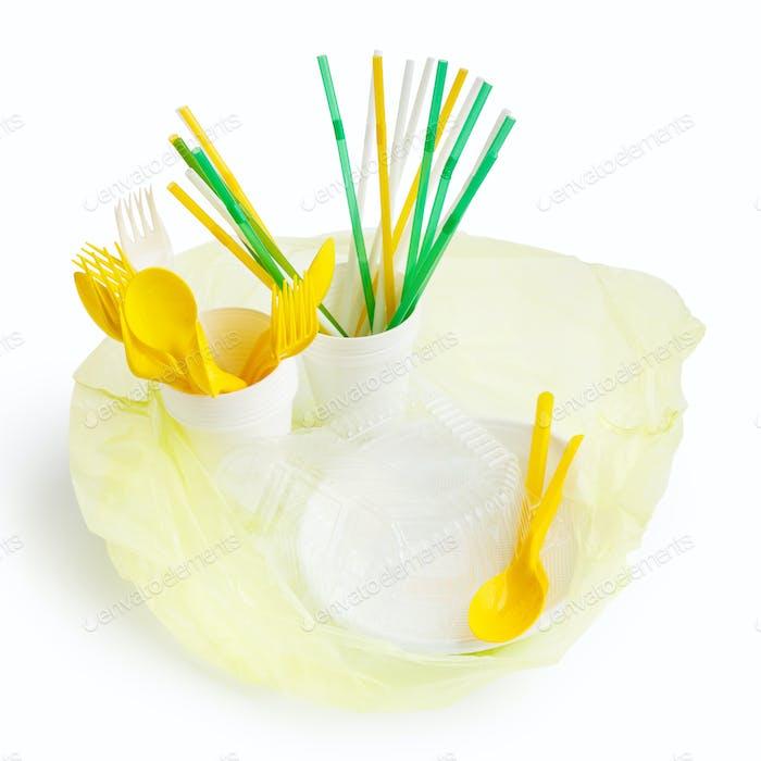 Plastic bag with plastic utensils