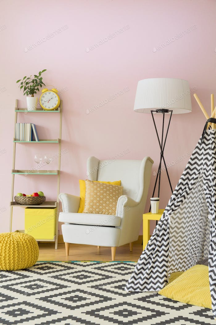 Pastel living room interior