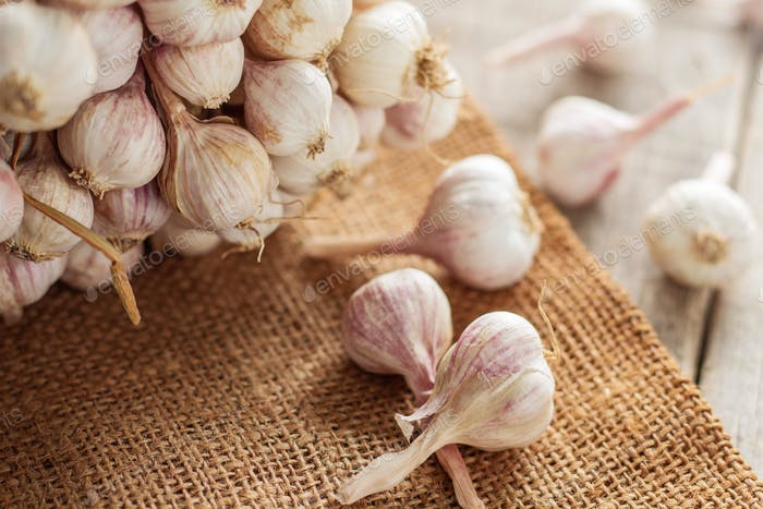 garlic on sack