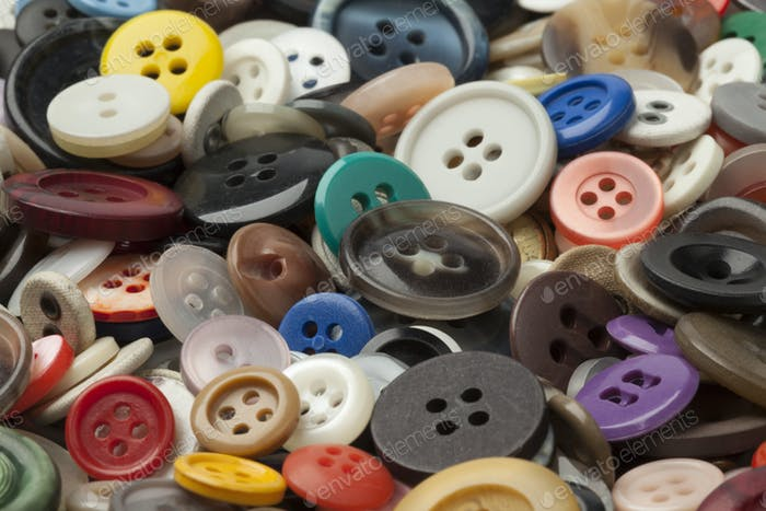 Collection of colorful sewing buttons