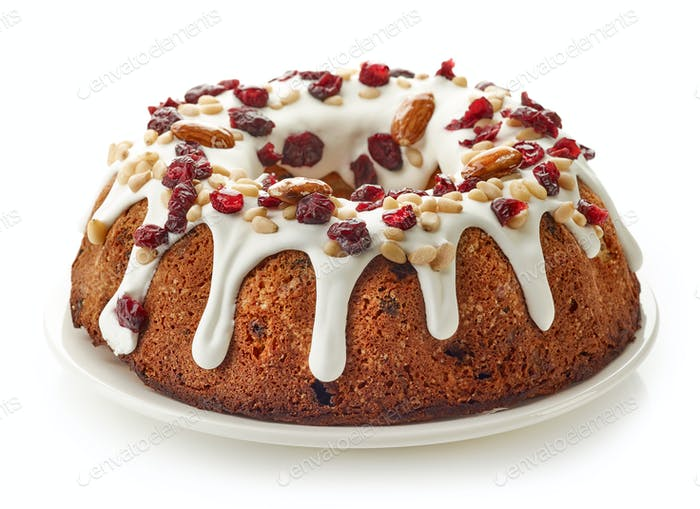 fruit cake on white plate