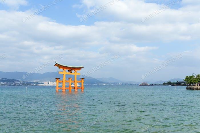 Itsukushima shrine with floating shinto gate