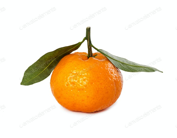 Ripe fresh mandarin with leaf