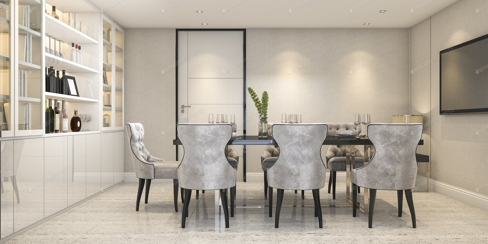 3d Rendering Dining Set In Modern Luxury Dining Room Near Door Photo By Dit26978 On Envato Elements