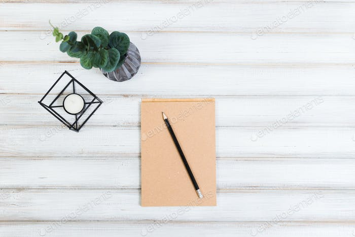 A plant, a notepad and a pencil