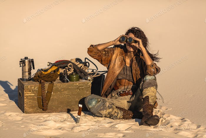 Post apocalyptic Woman Outdoors in a Wasteland