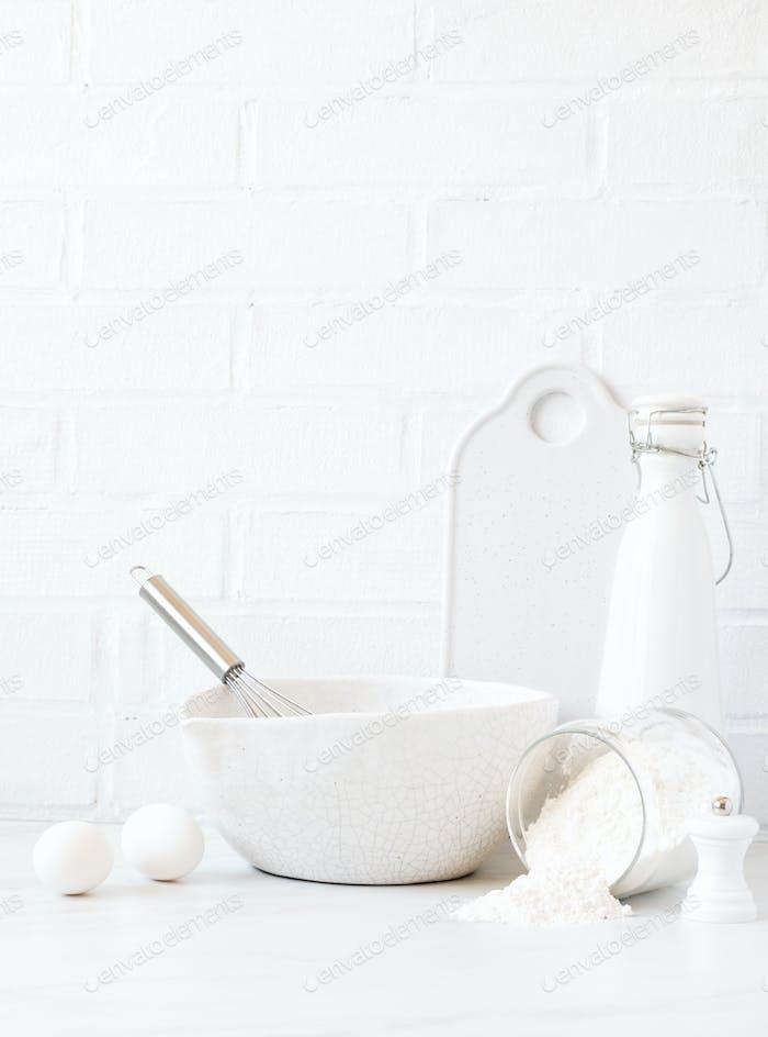 Background.Küchenutensilien .Pfannkuchen-Produkte.