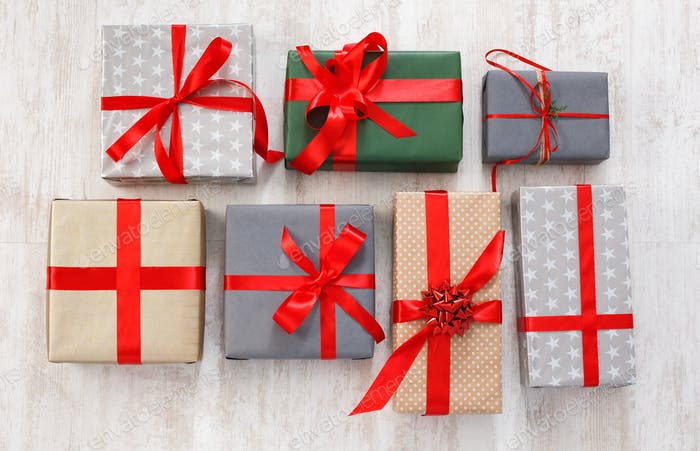 Lots of Gift boxes background, holiday presents in paper