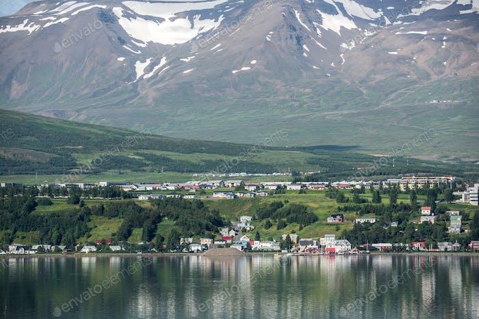 Beautiful Akureyri city in Iceland in Summer