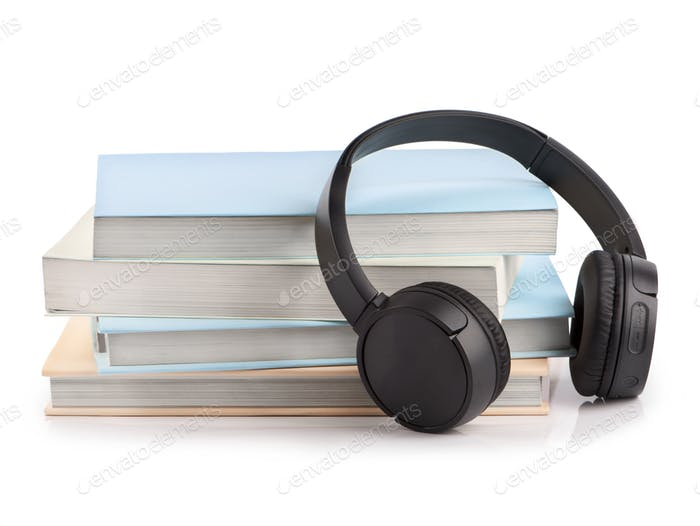 Modern headphones with hardcover books