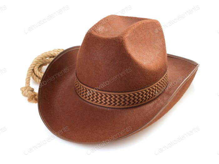 brown cowboy hat  on white