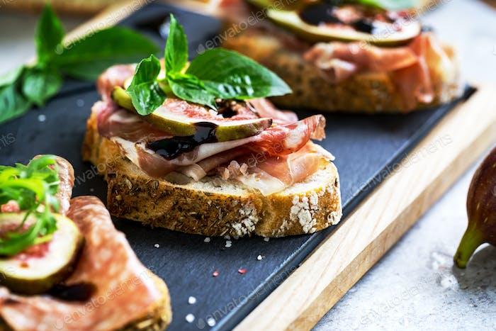 Varieties of Cured Ham with Fig Bruschetta