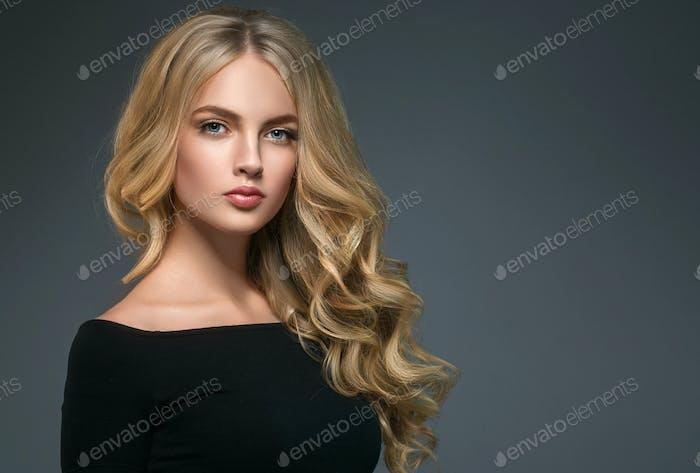 Business woman face portrait beautiful spa model girl perfect clean skin. Shampoo long beauty hair
