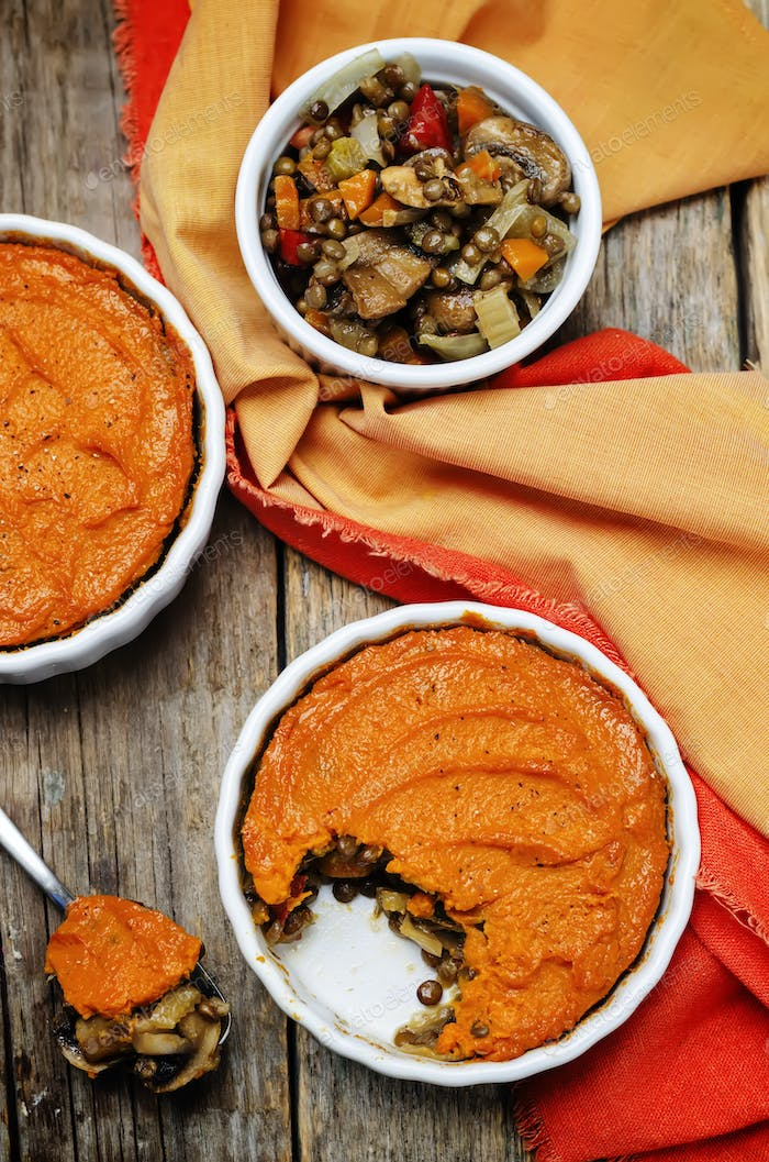 vegan green lentil mushroom sweet potato Shepherds pie
