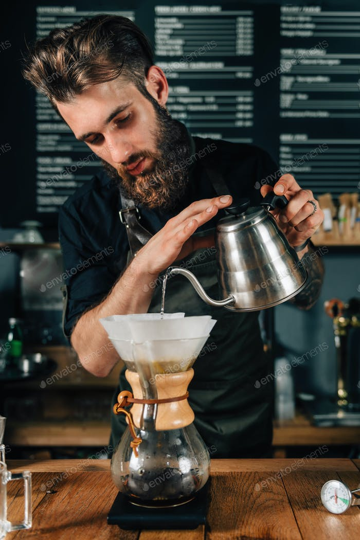 Barista Making Chemex Coffee