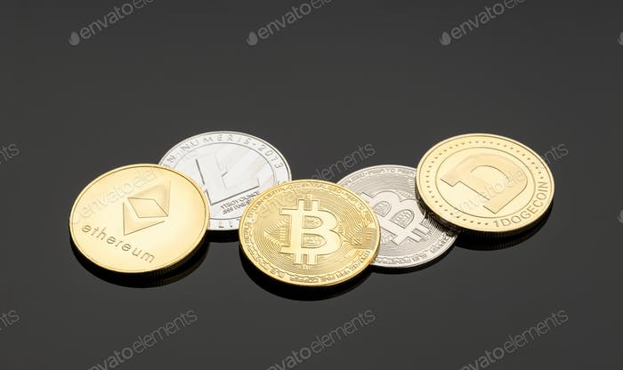 Monedas de criptomonedas sobre fondo negro