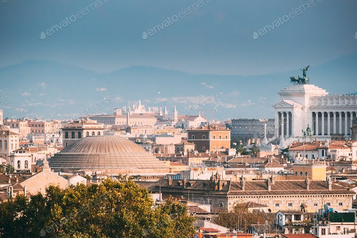 Rome, Italy. Sloping Roof Of Pantheon And Cityscape Of Town