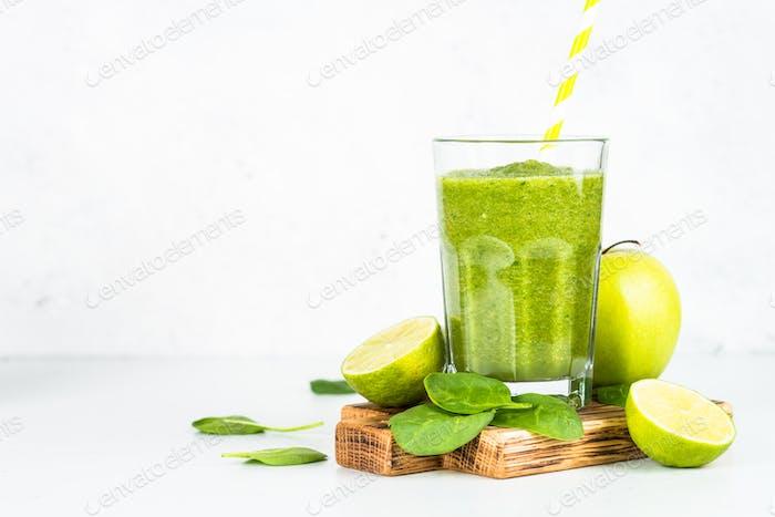 Green smoothie on white