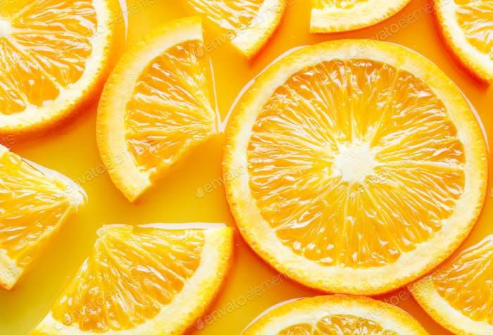orange fruit slices in juice