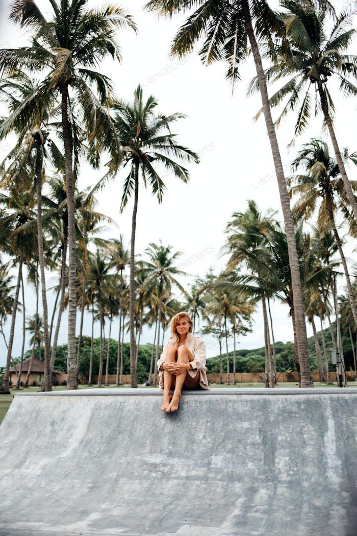 Beautiful girl in tropical