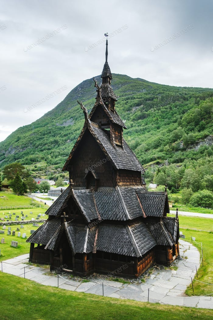 Old wooden Borgund Stave Church