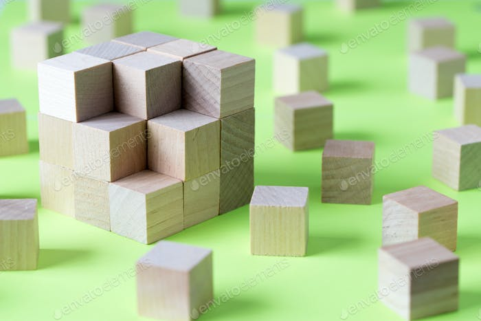 Wooden cubes form a bigger square