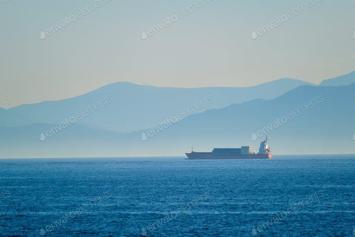 Cargo vessel ship in Aegean Sea