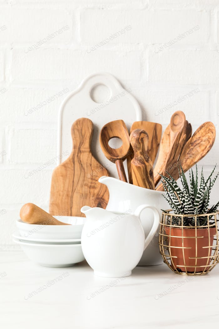 Kitchen utensils,tools  and dishware .nterior, modern kitchen space in bright colors.