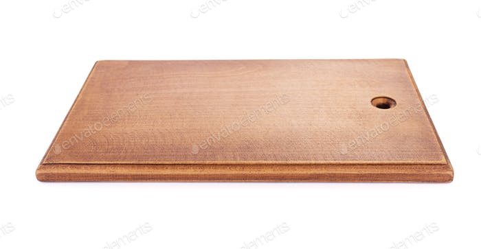 cutting wooden board on white background