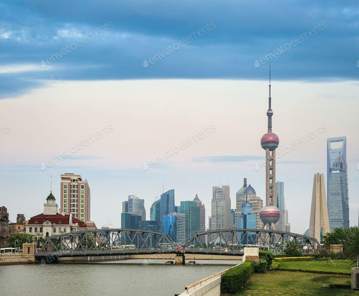 shanghai skyline and the garden bridge