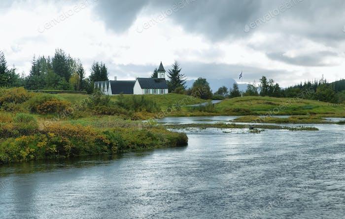 Ländliche isländische Kirche, Nationalpark Pingvellir