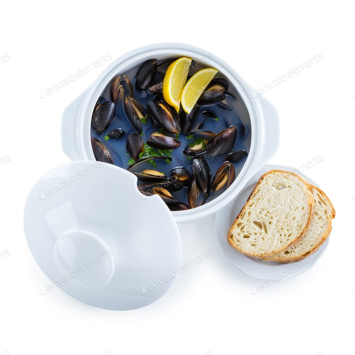 Mussel soup and slices of bread. With clipping path.