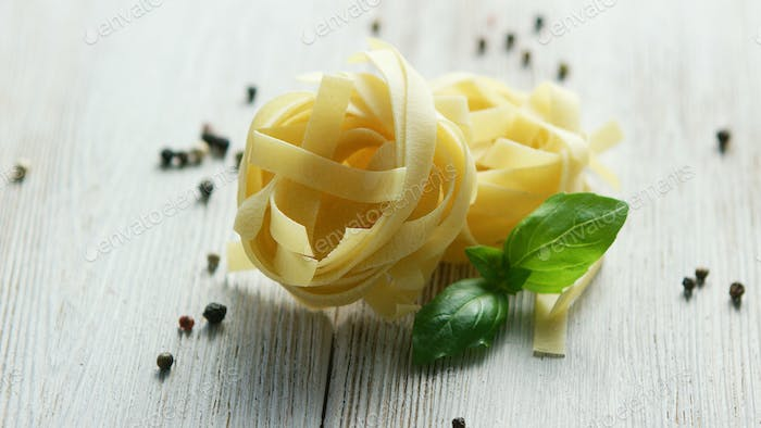 Small bunches of uncooked pasta