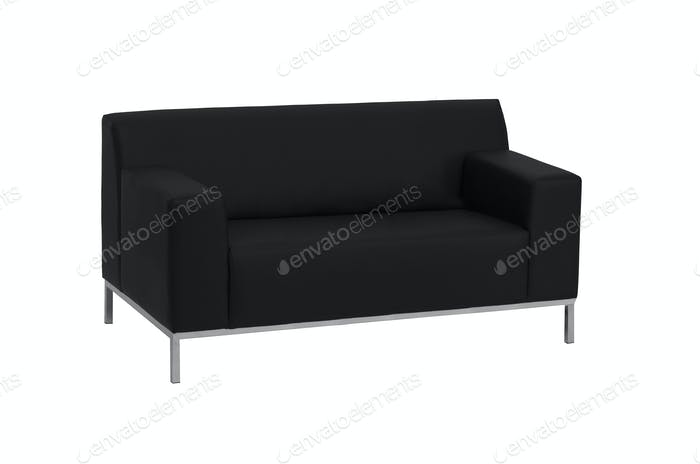 modern black leather sofa isolated on white