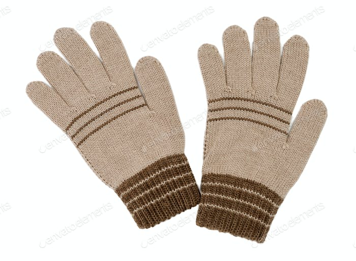 pair of beige gloves