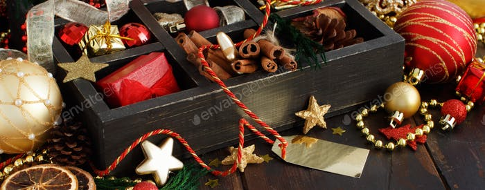 Christmas composition in a wooden box