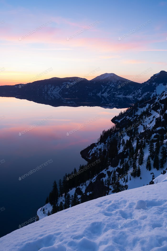South Rim Winter Sky Sunst Mount Scott Crater Lake Oregon