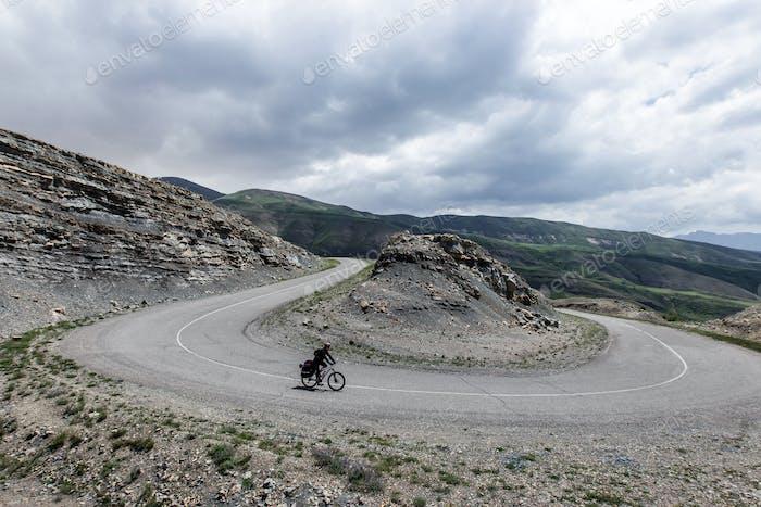 Downhill bike on mountain serpentine