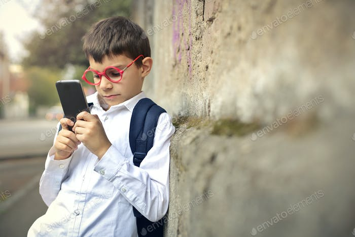 Child using a smartphone