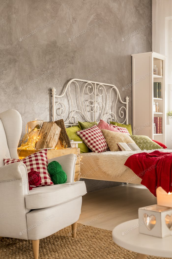 Flat with bed and armchair