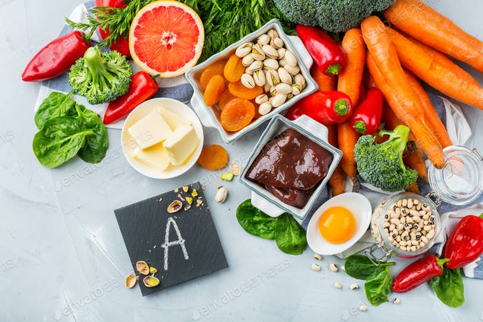 Balanced clean eating nutrition, food rich in vitamin a