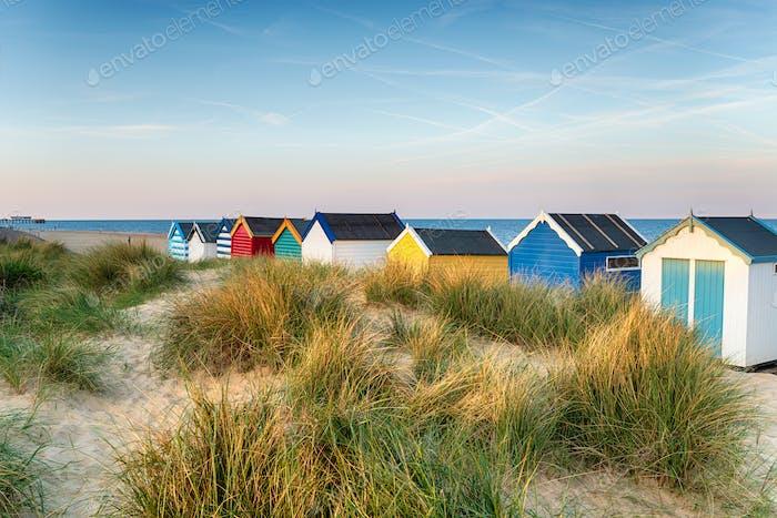 Strandhütten in den Sanddünen bei Southwold