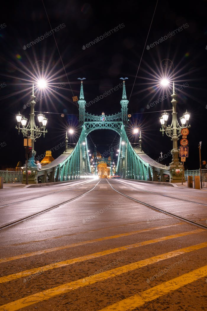 Liberty Bridge in Budapest in the evening time