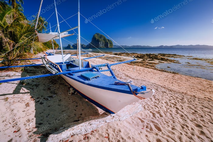 Traditional banca boat at exotic sandy beach with amazing Pinagbuyutan tropical island in background